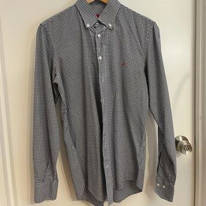 CH by Carolina Herrera button down shirt in blue & white gingham. Used. Size 15